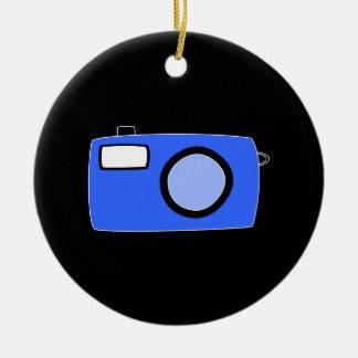 Bright Blue Camera. On Black. Ceramic Ornament