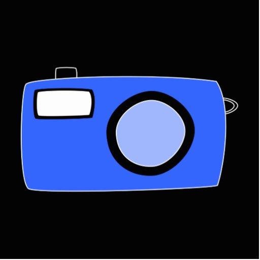 Bright Blue Camera. On Black. Photo Cutouts