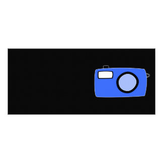 Bright Blue Camera. On Black. Personalized Rack Card