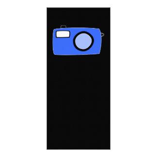 Bright Blue Camera. On Black. Rack Card