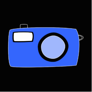 Bright Blue Camera. On Black. Standing Photo Sculpture