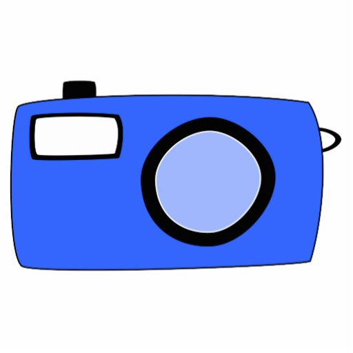 Bright Blue Camera. On White. Cut Outs
