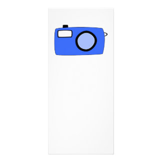 Bright Blue Camera. On White. Personalized Rack Card