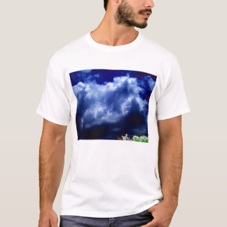 Bright Blue Chaotic Storm and Glowing Treetop-prog T-Shirt