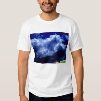 Bright Blue Chaotic Storm and Glowing Treetop-prog Tee Shirt
