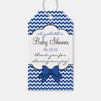 Bright Blue Chevron Baby Shower Thank You Gift Tags