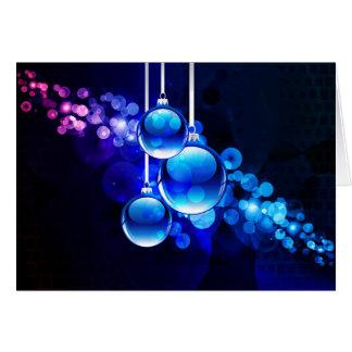 Bright Blue Christmas Bulbs Card