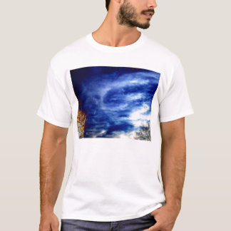 Bright Blue Cirrus radiatus and Electric Trees by T-Shirt