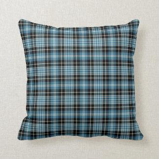 Bright Blue Clark Clan Scottish Plaid Throw Pillow