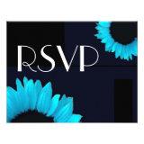 Bright Blue Color Sunflower Wedding RSVP Large Announcement