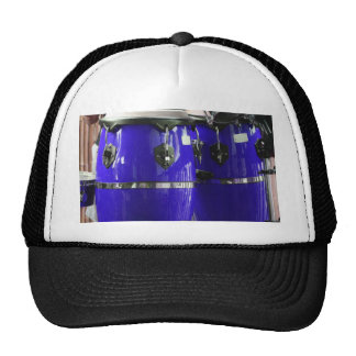 Bright blue conga drums photo trucker hat
