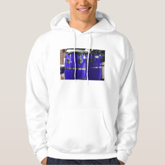 Bright blue conga drums photo hoody