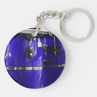 Bright blue conga drums photo keychain