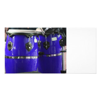 Bright blue conga drums photo photo card template