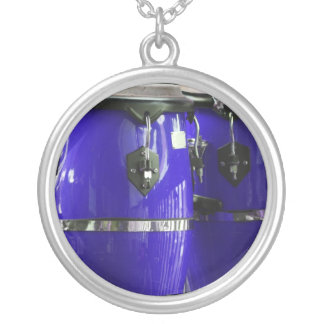 Bright blue conga drums photo round pendant necklace