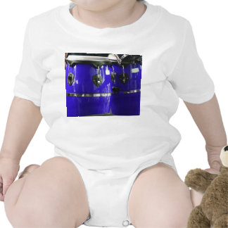 Bright blue conga drums photo baby bodysuit
