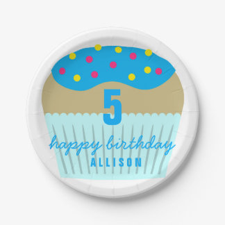 Bright Blue Cupcake 5th Birthday Party Plates