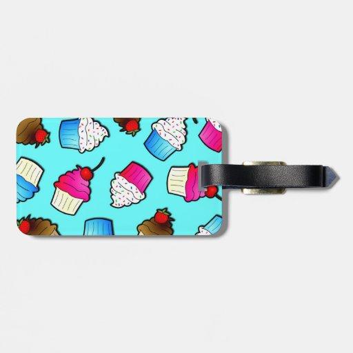 Bright Blue Cute Cupcakes Print Bag Tags