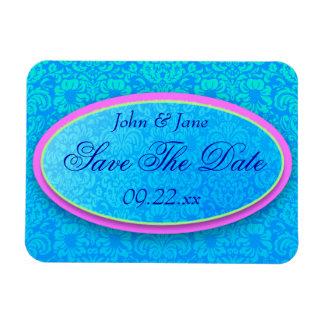 "Bright Blue Damask ""Save The Date"" Vinyl Magnet"