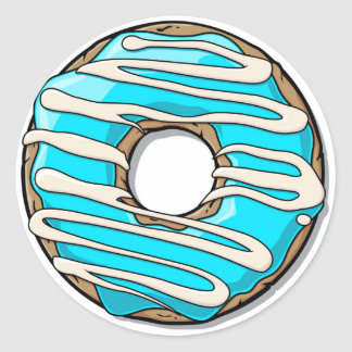 Bright Blue Donut with Icing Classic Round Sticker