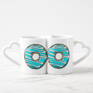 Bright Blue Donut with Icing Coffee Mug Set