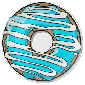 Bright Blue Donut with Icing Porcelain Plate