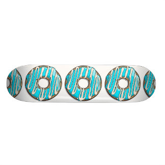 Bright Blue Donut with Icing Skateboard