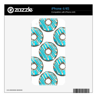 Bright Blue Donut with Icing Skins For The iPhone 4S