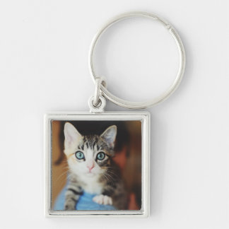 Bright Blue Eyed Kitten Keychain