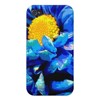Bright blue floral 4  covers for iPhone 4