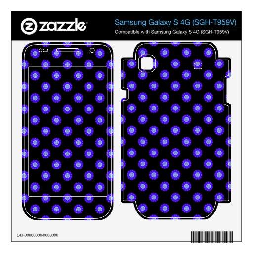 bright blue floral pattern on black samsung galaxy s 4G skin