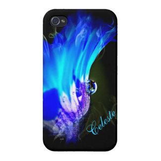 Bright Blue Flower W/Dew Drop iPhone 4 case