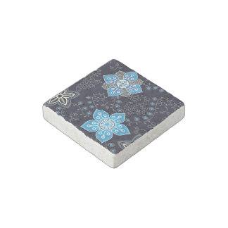 Bright Blue Flowers And Grey Vines On A Navy Backg Stone Magnet