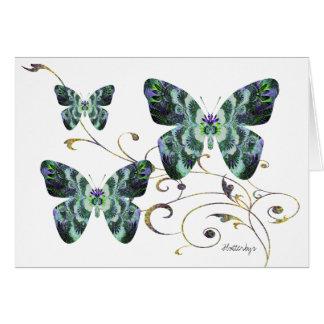 "Bright Blue ""Flutterbys"" Trio Note Card"