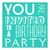 Bright Blue FUN teen typography Birthday Party 5 25x5 25 Square Paper Invitation Card