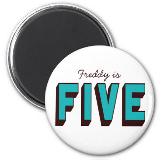 Bright Blue Funky Five Birthday Magnet