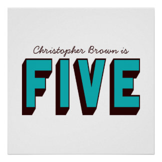 Bright Blue Funky Five Birthday Poster