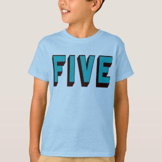 Bright Blue Funky Five Birthday T Shirt