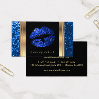 Bright Blue Glitter Lips and Elegant Gold Business Card