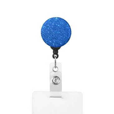 Beach Themed Bright Blue Glitter Sparkles Badge Holder
