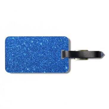 Beach Themed Bright Blue Glitter Sparkles Bag Tag
