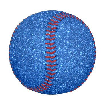 Beach Themed Bright Blue Glitter Sparkles Baseball