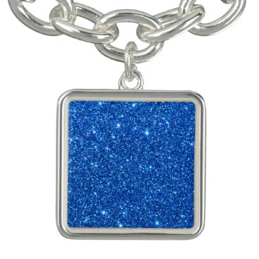 Beach Themed Bright Blue Glitter Sparkles Bracelet