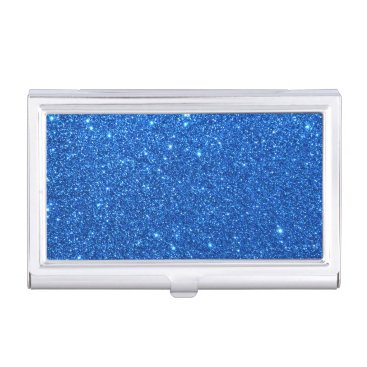 Beach Themed Bright Blue Glitter Sparkles Business Card Holder