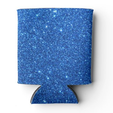 Beach Themed Bright Blue Glitter Sparkles Can Cooler