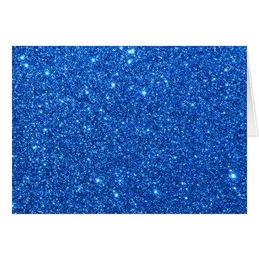 Beach Themed Bright Blue Glitter Sparkles Card