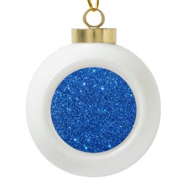 Beach Themed Bright Blue Glitter Sparkles Ceramic Ball Christmas Ornament