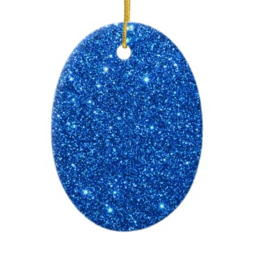 Beach Themed Bright Blue Glitter Sparkles Ceramic Ornament