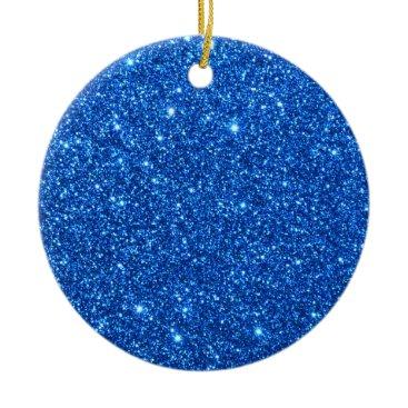 Beach Themed Bright Blue Glitter Sparkles Ceramic Ornament