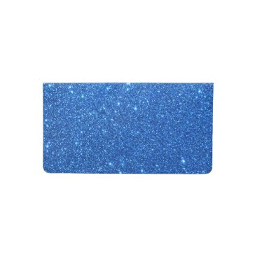 Beach Themed Bright Blue Glitter Sparkles Checkbook Cover